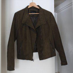 Marc NY Olive Green Suede Moto Jacket